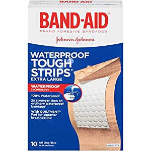 Band-Aid Brand Adhesive Bandages, Extra Large Tough Strips, Waterproof, 10 Count (Pack of 2)