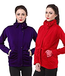 PURYS Red & Purple Fleece Buttoned Sweatshirts Combo of 2