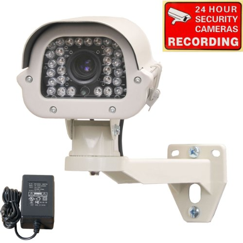 "VideoSecu Day Night Outdoor Wide Dynamic Range WDR Security Camera 700TVL Infrared 1/3"" Sony Effio CCD DSP 9-22mm Zoom Focus Lens for CCTV DVR Home Surveillance System, Including 2000ma Power Supply, Security Camera Bracket and Free Warning Sticker WE4"