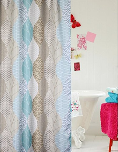 Printed Abstract Leaves Fabric Shower Curtain Extra Wide Bathroom Curtains