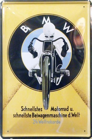 BMW Motorcycle, Metal Tin Sign, Tin Poster, Art Vintage Style Wall Ornament Coffee Decor, 20 X 30 Cm.
