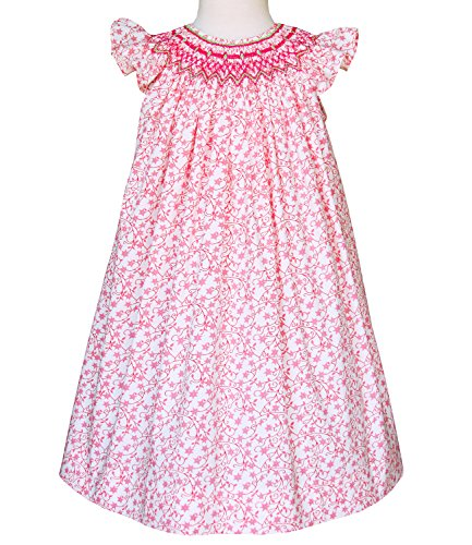 Girls Olivia pink smocked Summer Angel wing style dress