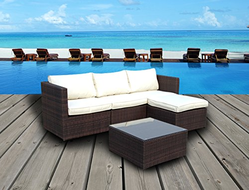 Emerald Bay Collection - 5 Pc Outdoor Rattan Wicker Corner Chaise Sofa Sectional Patio Furniture Set. Choice of Set & Cushion Color (Mixed Brown / Ivory Cushions)
