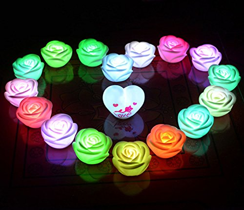 10pcs Flameless Candles ,Battery Powered, Waterproof, Color Changing (7 Colors) LED Romantic Rose Flower Night Light Floating Candle 10pcs Packs
