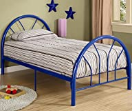 Roundhill Furniture Belledica Metal Bed Set with Headboard, Footboard and Slats, Twin, Blue
