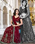 Maroon Net Embroidered Lehenga Choli TSGW5083a