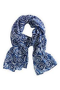 Asian Eye Fair Trade Silk Blue Swell Scarf (Blue)