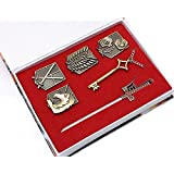 COSAUG Attack on Titan Shingeki No Kyojin Badge Weapons Key Necklace Pendant Set (Molded) (Color: Brass)