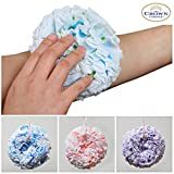 2-in-1 Bath Sponge & Hard Exfoliator Body Scrubber for Women and Men (Pack of 2: Color & Sizes Vary) ☆ Patented Loofah Body Sponges Design to NOT Unravel ☆ Unique Design with Hard Rough Exfoliating Scrub Side and Soft Scrubber Side ☆ Durable and Long Lasting Shower Sponges Ball