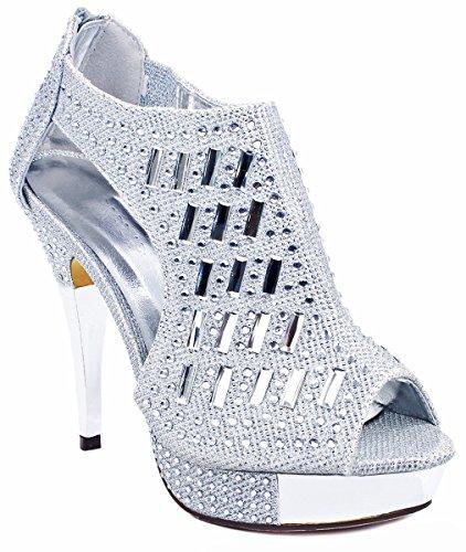dd639fef729c7 Women Silver Glitter Crystal Rhinestone Peep Toe Platform High Heel Evening  Dress Bootie Pumps-7