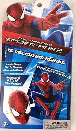 The Amazing Spiderman 2 Valentines Classroom Exchange Cards with Wearable Masks - 1