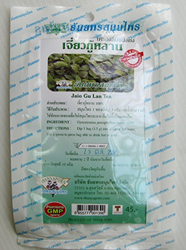 Jaio Gu Lan Tea Gynostemma Pentaphyllum Leaves 100% Thai Herbs Drink (Pack Of 2)