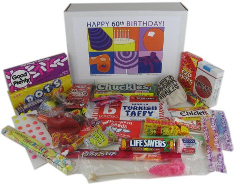 60th Birthday Gift Basket Box of Retro Candy - Jr.