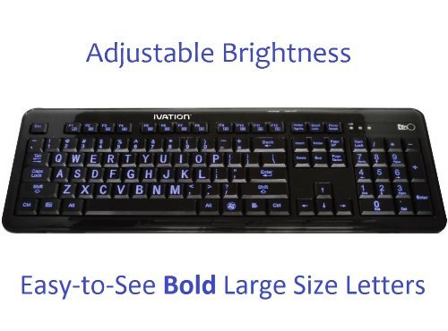 Ivation Letter Illuminated Large Print Full Size Multimedia Computer Keyboard - Gentle, Crisp & Clear Blue Led Lights Illuminate Each Key With Adjustable Brightness