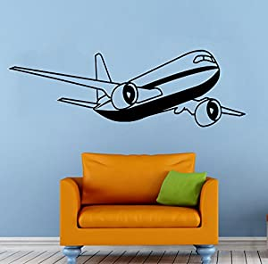Airplane plane wall vinyl decal aviation sticker art mural for Aviation wall mural