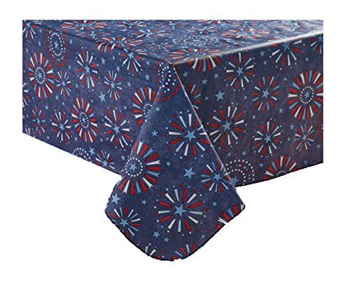 Patriotic July 4th Fireworks Vinyl Tablecloth