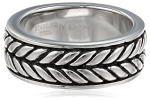 Men's Stainless Steel Textured Band Ring, Size 8