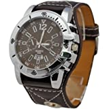 HACBIWA 2013 Classic Men Women Brown Letheroid Wrist Watches Big Dial Watches