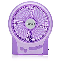 Topwell® Round Mini Portable Electric Personal Fans LED Lights Function Fans Wireless USB Rechargeable Desk Fan Table Fan 3 Modes Wind Speed Adjustable with 18650 Rechargeable Battery included For Office Or Car use (Purple)
