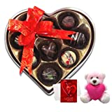 Chocholik Luxury Chocolates - Simple Mixed Surprises With Teddy And Love Card