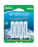 51TUidX560L. SL160 Sanyo eneloop SEC HR4U4BPN 750mAh Minimum, 1500 cycle, 4 Pack AAA, Ni MH Pre Charged Rechargeable Batteries