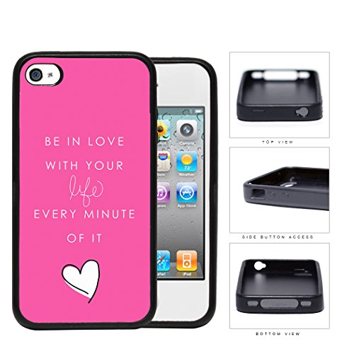Girly Love Your Life Quote With Pink Background Rubber Silicone Tpu Cell Phone Case Apple Iphone 4 4S front-231208