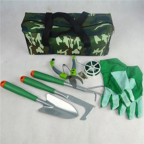 Il giardinaggio da cortile Grandey allattamento tools come seven vestiti, kit, una paletta integrata, una paletta e un Rastrello da giardino, un coltello multiuso, un paio di forbici da potatura, un pacchetto di fiori, linea fissa e un paio di guanti