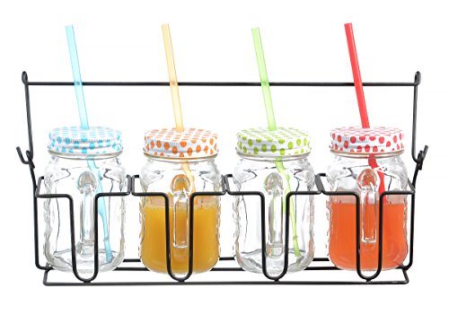 Zeesline Set Of Four (4) 16-Oz Clear Glass Mason Jars Mugs With Handles, Colored Polka Dots Lids & Drinking Straws, Including Caddy Holder With A Handle, Home And Party Drinkware Set, Blue Red Green Yellow Drinking Jars