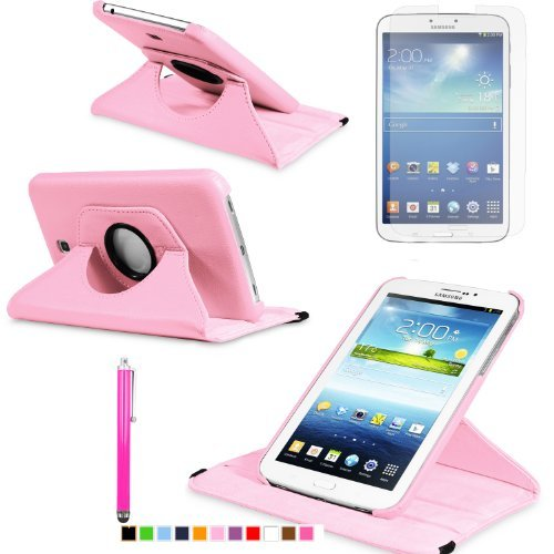 360 Degree Rotating Cover Case for Samsung Galaxy Tab 3 7.0 SM-T210 / SM-T217 With Screen Protector and Stylus Galaxy tab 3 7 case From Sheath TM [ Does not Fit Galaxy Tab 3 Lite SM-T110 ] (Pink)