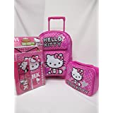 "Hello Kitty Large 16"" Rolling Backpack Roller Book Bag, Lunch Box & 11 Piece Portfolios Notebook Pen"
