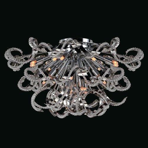 Worldwide Lighting 19-Light Medusa Collection Flush Mount, Chrome Clear Crystal