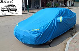 Cutequeen Trading 1pcs Polyester Full Size Car all cover Snow Cover with Storage Pouch (Pack of 1) BLUE 3L(Sedan)