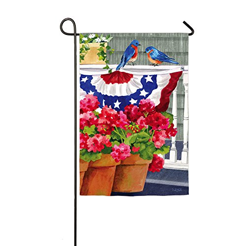 Bluebird Bunting And Geraniums Garden Flag front-586719