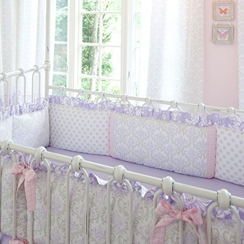 Lilac And Silver Gray Damask Crib Bumper With Accent Strips And Ruffle front-327822