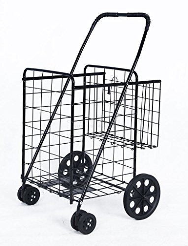 DLUX Folding Shopping Cart with Double Basket, Front Swivel Wheels (Black, Jumbo Size) (Wheels For A Cart compare prices)