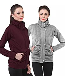 PURYS Light Grey & Wine Fleece Buttoned Sweatshirts Combo of 2