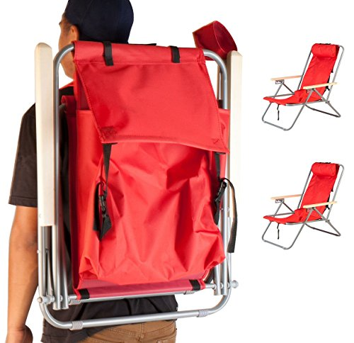 2 Portable Chair Backpack Beach Chair Folding Red Solid Construction Camping New