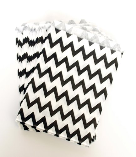 Celebration Gift Paper Bags, Black Chevron (25 Pack) - Festive Party Supplies For A Graduation Or 40Th Birthday front-733176