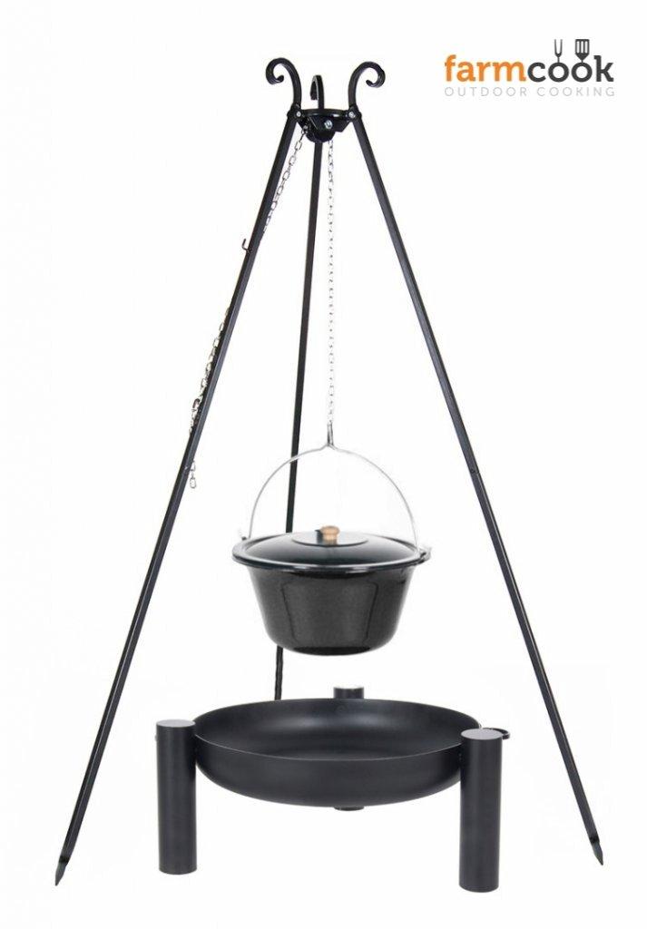Dreibein Grill VIKING Höhe 180cm + Emaillierter Topf 14 Liter + Feuerschale Pan38 Durchmesser 60cm jetzt bestellen