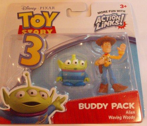 Disney / Pixar Toy Story 3 Action Links Mini Figure Buddy 2Pack Alien Waving Woody