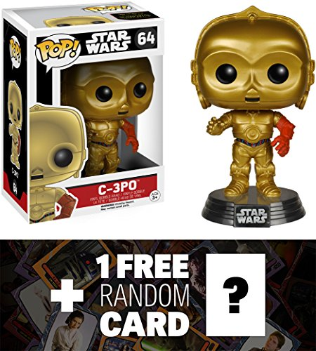 C-3PO: Funko POP! x Star Wars Vinyl Bobble-Head Figure w/ Stand + 1 FREE Official Star Wars Trading Card Bundle [62194]