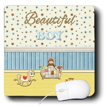 Mp_192579_1 Beverly Turner Baby Stuff Design - Beautiful Boy Room, Choo Choo Train, Rocking Horse, Quilt Bed, Monkey - Mouse Pads front-56251