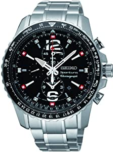 Orologio Seiko Sportura Chronograph Pilot Allarm Acciaio SNAE95P1