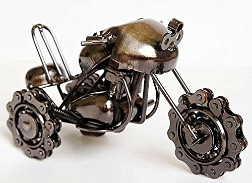 Zenness Metal Art Gifts Handmade Snow Motor Wrought Iron Motorcycle Model M61A (Black)
