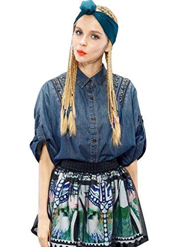 Elf Sack Womens Autumn Jean Blouse Nail Bead Washing Medium Size Blue