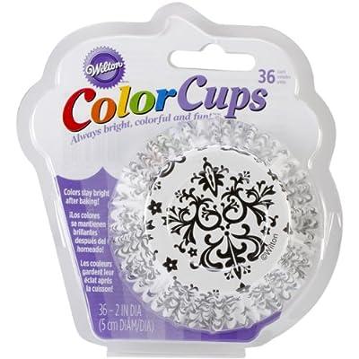 Wilton 415-2352 36 Count Baking Cup, Standard, Damask, Black/White
