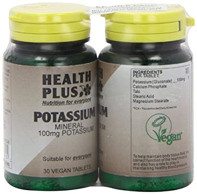 Health Plus Potassium 100mg Mineral Supplement - 2 X Packs Of 30 Tablets (60 Tablets) by Health + Plus Ltd