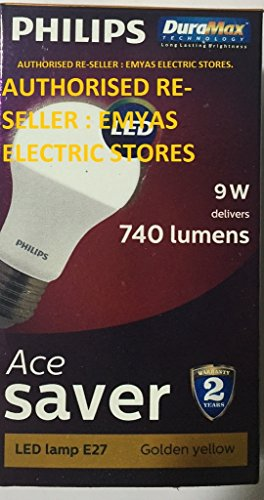 Philips Ace Saver 9W 740L E27 LED Bulb (Warm White, Pack of 4)