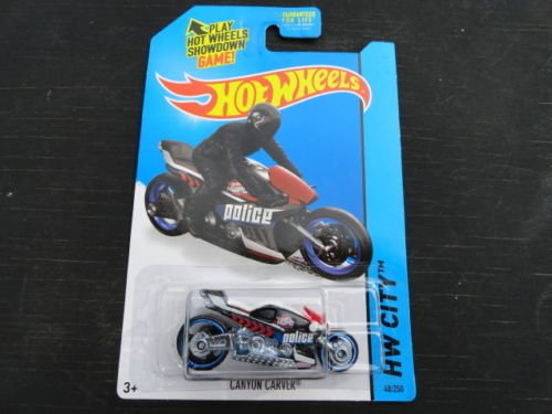 Hot Wheels, 2015 HW City, Canyon Carver Police Motorcycle [Blue] Die-Cast Vehicle #48/250 - 1