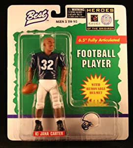 KI JANA CARTER / PENN STATE NITTANY LIONS * 1997 NCAA College Football * 6.5 Inch * Best Heroes of the Gridiron Fully Articulated Action Figure & Removable Football Helmet